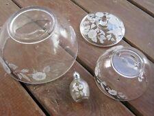 Vintage Avon 24% Full Lead Crystal Bowl Sugar Bowl Pepper Clear & White Graphics