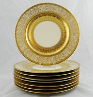 "8 Heinrich & Co Gold Encrusted Dinner Service Plates 11"" Multiple Available"