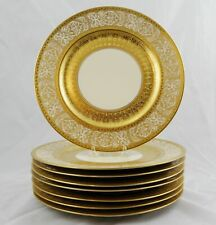 """8 Heinrich & Co Gold Encrusted Dinner Service Plates 11"""" Multiple Available"""