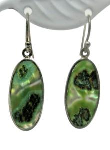 Abalone Shell Oval Dangle Sterling Silver EARRINGS Pierced EUC 925