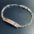 925 Sterling Silver Figaro Cross Childrens or Baby ID Bracelet Free Engraving
