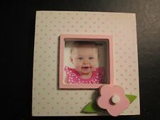 Pink Dot Wood Baby Photo Frame by Mud Pie, New