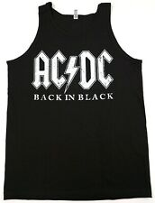 AC/DC Back In Black Tank Top T-shirt ACDC Distressed Vest Mens Black New