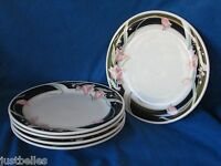 China Pearl SERENA Salad Plate 1 of 2 available Pink Tulips, Black Border