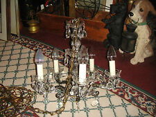 Antique Victorian 5 Light Chandelier-Hanging Crystals-Large-Gorgeous Metal-LQQK