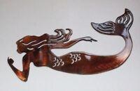 Swimming Mermaid Metal Wall Art copper/bronze
