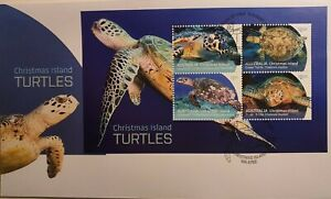 Christmas Island 2021 : Turtles - First Day Cover with Minisheet, Mint Condition