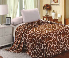 New Giraffe Animal Print Flannel Throw Plush Cozy Super Soft Fleece Blanket