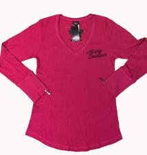 "Harley-Davidson Women's Deep Pink V-neck Thermal Shirt ""heartbreaker"" Medium"