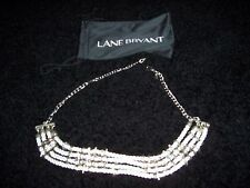 Lane Bryant Bib Necklace -  Silver Rings Placed White Satin Silvery Cord  NWOT