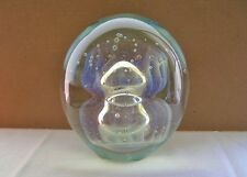 "EICKHOLT Glass PAPERWEIGHT Glows in BLACKLITE Signed COLORS CHANGE 4"" MOONJELLY"