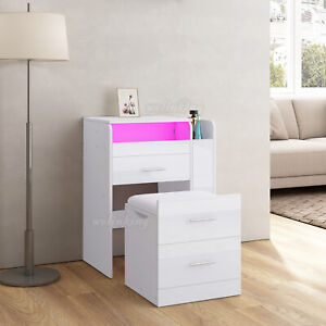 RGB LED Schminktisch Nachttisch mit Hocker & Spiegel Schubladen Stauraum Kommode