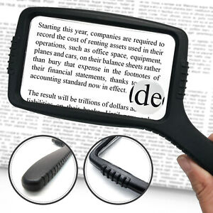 3X Large Handheld Magnifying Glass with Comfort Grip & Shattered Proof Design