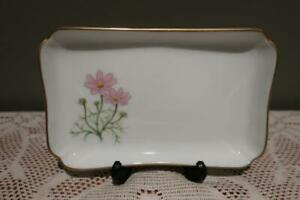 Ikenobo Rectangular Floral Trinket Dish - Pink Daisy Pattern - Gilt Trim - Boxed