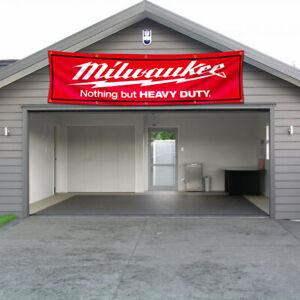 Milwaukee Tools Logo Banner Flag 2x8 FT Car Show Garage Wall Decor Sign 2021 NEW