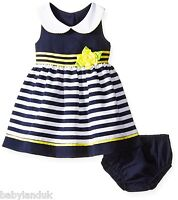 Baby Girls Summer Navy & White Sailor Dress Pants Peter Pan Collar Bonnie Jean