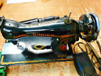 Antique 1947 Singer Electric Sewing Machine AG576992 with Knee Controller