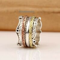 Solid 925 Sterling Silver Spinner Ring Meditation Ring Statement Ring Size Ra28