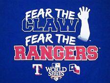 MLB Texas Rangers World Series 2010 Fear The Claw Genuine Merchandise T Shirt XL