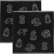Kracht Geschirrtuch 2er-Pack Frottier Baumwolle, Katzen