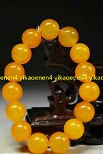Pretty Huge 12mm Yellow Jade Round Gems Beads Stretchy Bangle Bracelet 7.5''