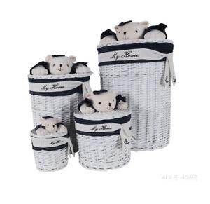 Nautical Teddy Bear Wicker Willow Storage Round Baskets Set of 4 Coastal Decor