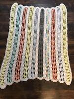 Crochet Handmade Afghan Throw Baby Blanket 40x57 Pastels Yellow Green Coral Gray