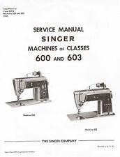 Singer Sewing Machine Models 600 603 Adjusters Service Repair Manual Book