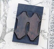"letter: n blackletter wood type 3.54"" woodtype font letterpress printing block n"