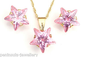 9ct Gold Pink CZ Star Pendant and Studs Earrings Set Made in UK Gift Boxed
