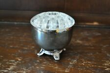 ONEIDA - Lovely Small Simple Footed Silver Plate Posy Bowl with Glass Frog