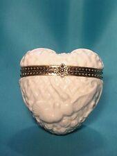 "Porcelain Heart Box Hinged Trinket Box ""Wedding Memories"" By Roman New"
