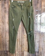 VIP Jeans Women's Skinny SZ 11/12  Olive/Army Green Distressed Jegging w Pockets