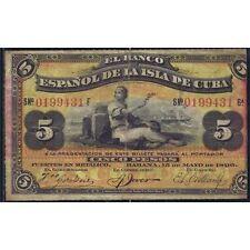 Banco Español de Ultramar Caribe 5 Pesos La Habana 15 Mayo 1896 Muy bonito