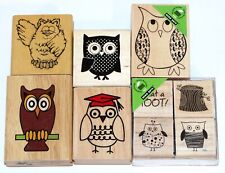 Owl Rubber Stamps Lot of 9 Hero Arts Canadian Maple What a Hoot
