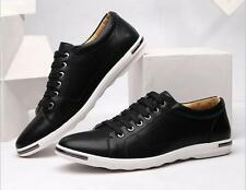 Fashion Men's Breathable Sneakers Sport Casual  Leather Flats Shoes US 10.5
