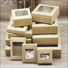 Kraft Box With Window Party Holidays Events Gifts Souvenirs Packaging 10 Pcs/Lot