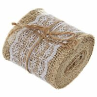 2M Pretty Lace Edged Hessian Burlap Ribbon Roll for Rustic Wedding Party De I1W2
