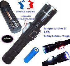 Lampe torche rechargeable USB - LED  bleu,blanc,rouge