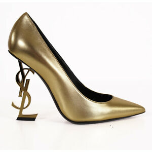 Sz 37 NEW $1,195 SAINT LAURENT Gold Leather OPYUM 110 YSL Logo Metal Heels PUMPS