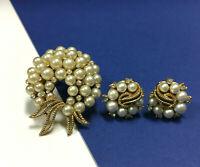 Vintage CROWN TRIFARI Gold Plated Pearl & Rhinestone Brooch & Earring SET AA21G