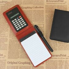 Notebook Leather Cover Pocket Notepad With Calculator Business Work Supplies New
