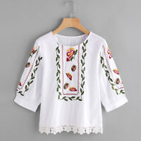 Women Fashion Summer Blouse Ladies Lace Floral Printed Casual Tops Loose T-Shirt