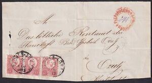 Hungary, Austria, Croatia,1872, large part of registered letter, 5 kr strip of 3