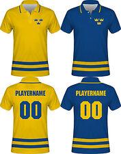 NEW 2018 Sweden Hockey Polo T-Shirt NHL Backstrom Sedin Zetterberg Karlsson