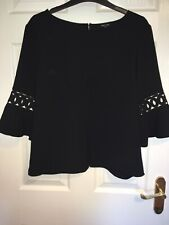 RIVER ISLAND Black Blouse/Top 3/4 Raffle Sleeve with detail Size 12 UK