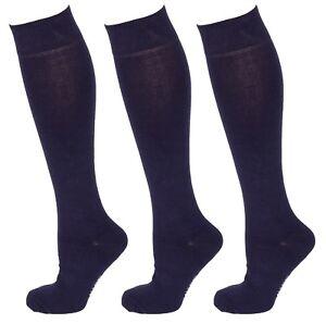3 Pairs Men Cotton Rich Long Knee High Plain Navy Blue Socks