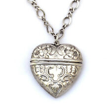 "Vintage 925 Silver Repoussé Chatelaine Puffy Heart Locket Pendant w/ 24"" Chain"