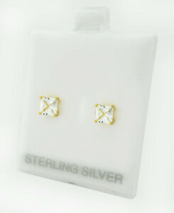 WHITE SAPPHIRES 1.40 Cts STUD EARRINGS .925 SILVER (gold)* Brand New With Tag  *