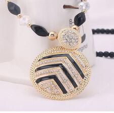Damen Halskette Schmuck Collier Anhänger Gold lang Kette Mode Strass Luxus 35€